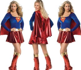 Wholesale Super Sexy Uniform - 2015 New Sexy Superhero Adult Halloween Costumes Superwomen Masquerade Ball Party Club Dress Cool Cosplay Uniforms