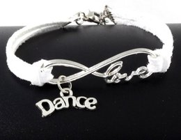 bracelet accessories love Promo Codes - 10pcs Vintage Silver Love Infinity Dance Charms Bracelets Bangle For Women Mixed Color Velvet Rope Bracelet Jewelry Gifts Accessories