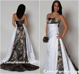 Wholesale Empire Waist Strapless - 2017 Strapless Camo Wedding Dress with Pleats Empire Waist A line Sweep Train Realtree Camouflage Bridal Gowns dhyz 02