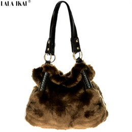 Wholesale Vintage Rabbits - Wholesale-Brand Winter Warm Ladies Shoulder Bag Rabbit Fur Handbag Vintage Tote Bags for Women Designer Faux Fur Bag BWA0338
