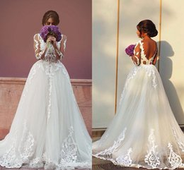 Wholesale Cheap One Sleeve Wedding Dresses - Two in One 2016 Spring Wedding Dresses Vintage Lace with Detachable Train Long Sleeves Backless Cheap Sexy Garden Beach Bridal Wedding Gowns