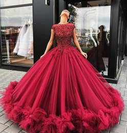 Wholesale Short Puffy Purple Prom Dresses - 2017 Quinceanera Ball Gown Dresses Burgundy Lace Applique Crystal Beaded Short Sleeves Ruffles Tull Puffy Long Party Prom Evening Gowns