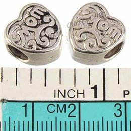 Wholesale Red Black Craft Beads - Jewelry Fittings Spacer Beads Pandora Charms Bracelets DIY 5mm Round Large Hole Heart Antique Silver Metal Mother's Day Crafts 12mm 50pcs