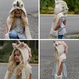 Wholesale Unicorn Knitting - kids Unicorn scarf cap 2 in 1 Kids Infant Warm Knitted Hats warmer Winter Beanie Hat Tassels cap LJJK783