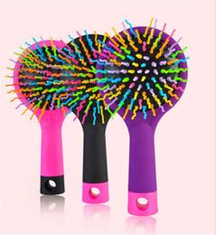 Волшебная распутывающая щетка онлайн-Радуга объем клубок Detangling щетка для волос многоцветный магия Detangler укладка волос инструмент щетка для волос расческа с зеркалом бесплатная доставка DHL