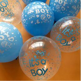 Wholesale Baby Blue Balloons - 50pcs  lot Happy birthday decoration balloon clear Blue balloon Helium Balloons It is boy Baby 1st Birthday latex balloons