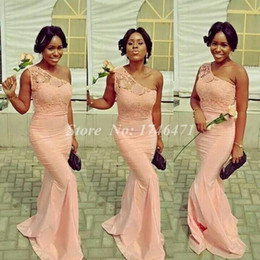 Wholesale Ivory Feather Bridesmaid Dresses - Coral 2015 Bridesmaid Dresses Lace 2016 Formal Evening Prom Gowns Sheath One Shoulder Zip Back Satin Cheap Plus New Party Gowns
