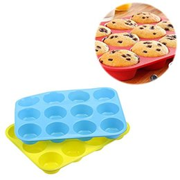 Wholesale Fondant 12 - Wholesale- Cake Moulds Fondant Kitchen Bakeware Silicone Metal Non-Stick 12 Cups Cupcake Baking Tray Mousse Cake Mold Muffin Pan #81519