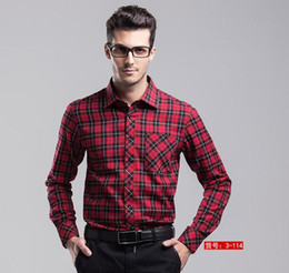 Wholesale Easy Sport - Fashion Original Men Spring cotton easy care casual big size long-sleeve flannel plaid formal suit dress wedding shirts sports jerseys,M-XXL