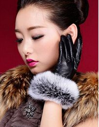 Wholesale Hot Warm Gloves - Hot Womens winter leather gloves Thick velvet lining Fashion Warm Gloves 5 Color