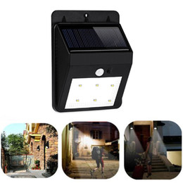 Wholesale-New Arrival Solar Power 6 LED PIR Motion Sensor Light Outdoor Garden Wall Lamp Waterproof Lawn lamps Landscape lights / F1232 от Поставщики солнечные светильники для озеленения