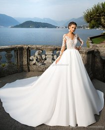 Wholesale Exclusive Bridal Dresses - delectable lace and exclusive satin long sleeves ball gown wedding gowns 2017 Milla nova bridal dresses bateau neckline chapel train
