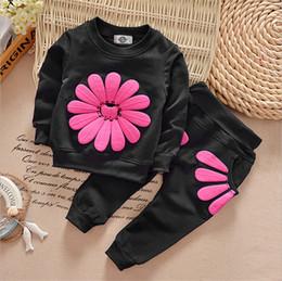 Wholesale Kids Sun Shirt - Autumn kids clothes girl long sleeve sun flower shirt+pant set 2 pieces children clothes suit 5 colors B11