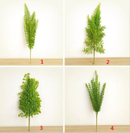 Wholesale Flowers Ferns - 4 Types Lifelike Artificial Rustic Fresh Green Leaves Bush Fern Grass Plant Home Decorative Plants Party Decoration DT17