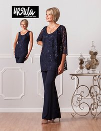 Wholesale Groom Suits For Beach Wedding - 2017 Navy Blue Pants Suits Plus Size Chiffon Mother of Bride Groom Handmade Three Pieces Pants Suit Beach Wedding Suits for Mothers