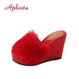 Aphixta piattaforma tacco alto donne pantofola nero autunno Chaussure cuneo donne eleganti zoccoli zoccoli fuori scivoli scarpe estive da