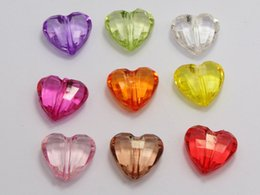Wholesale Coloured Charms - 50 Mixed Colour Transparent Acrylic Faceted Heart Charm Beads 23X16mm