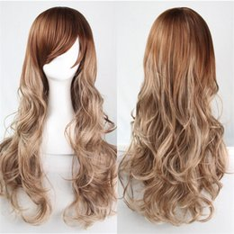 Wholesale American Girl Blonde - European and American style wigs synthetic long Light Blonde wig curly hair wig pale gold brown two tone ombre wigs cosplay 70cm