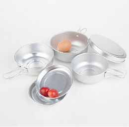 Wholesale New Portable Aluminum Mess Kit Camping Pan Set Outdoor Cookware Drinking Cup Cooking Pan