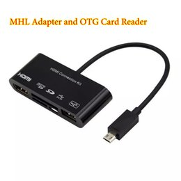 Wholesale Otg Connection - 100PCS MHL to HDMI HDTV Adapter 5 in1 Micro USB OTG SD TF Card Reader HDMI Connection Kit For Samsung Galaxy S4 S5 S3 Note 2 3