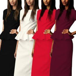 Wholesale Evening Midi Dresses - New Sexy Dress Plus Size Fashion Women Evening Party Dresses skirt Slim High Waist Bodycon Ladies Ruffled Summer Work Midi Dress A30
