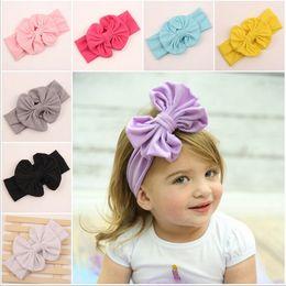 Wholesale jersey wraps - Girls Head Wraps Messy Bow Headbands ,Jersey Knit Headwraps Knott Fashion Headband Solid Headwear20pcs