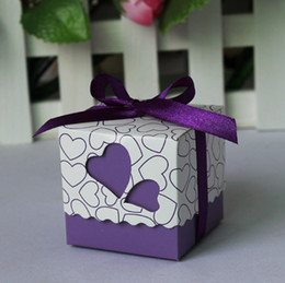 Wholesale Paper Hearts - Free shipping 100pcs Purple Heart Wedding Favor Candy Boxes with Ribbon Baby Shower Paper FAVOUR box gifts chocolate box