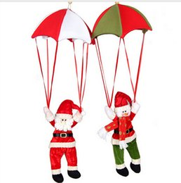 Wholesale Christmas Parachute Santa - Christmas ornament Santa claus snowman ornaments parachute Xmas decoration 4 design available free shipping