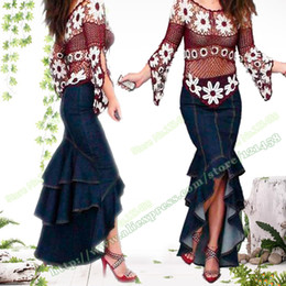 Wholesale Sexy Jeans Skirts - American Apparel Bohemia Vintage Fashion Sexy Casual Denim Lady Long Skirts   Asymmetry Saia Mermaid Stretch Maxi Jeans Skirt for Womens