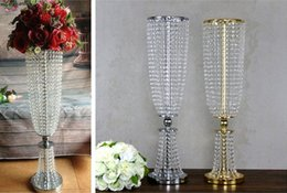 Wholesale Wholesale Lily Flowers Bags - wedding flower vase metal stand party stage decoration crystal wedding road lead props   wedding table centerpieces event party decoration