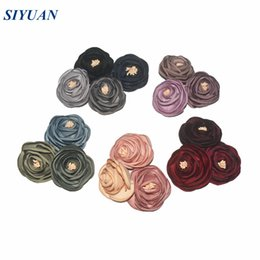 flower brooch mix Promo Codes - 50pcs  Lot Burned Satin Flower With Stamen Rolled Chiffon Flowers Flat Black Brooch Corsage Headband Solid Headwear 16 Colors Th238