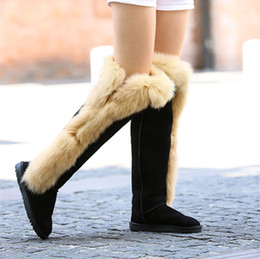 Wholesale Flat Black Thigh High Boots - Midolvhouse new women fashion real leather genuine and realfox fur boots boots brand design Knee snow Boots factory price wholesale