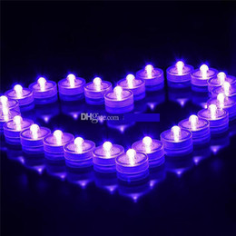 Wholesale Underwater Led Tea Lights - Underwater Flickering Flicker Flameless LED Tealight Tea Waterproof Candles Light Battery Operated Wedding Birthday Party Xmas Decoration