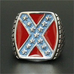 Wholesale Flag Rings - 1pc Free Fast Shipping New Arrival USA Flag Stars Ring 316L Stainless Steel Man Boy Fashion Biker USA Style Ring