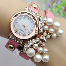 Wholesale Bracelet Navy Vintage - Girl Vintage Leather Bracelet Rivet Strap Man-Made Pearl Crystal Bowknot Watches Analog Girl Ladies Casual Quartz Watch 2015