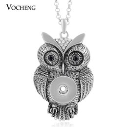 Wholesale Alloy Rhinestone Crystal Necklace - NOOSA Owl Necklace Ginger Snap Jewelry 18mm 2 Colors Pendant Popper Jewelry Vintage with Stainless Steel Chain VOCHENG NN-213