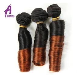 Wholesale Brazilian Bouncy Hair - Ombre Hair Extensions 7A Grade Brazilian Aunty Funmi Hair 3pcs lot 1B 30 Brazilian Bouncy Curly Weave Unprocessed Human Hair