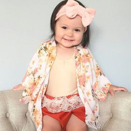 Wholesale Kids Floral Cardigan - 2018 New kids tassel cardigan baby girls floral printed long sleeve outwear bohemia style children beach sunscreen cardigan coat R1564