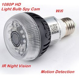 Wholesale Night Vision Light Bulb - 1080P Light Bulb Hidden IP Camera HD WiFi Video Recorder Motion Detection E27 Base LED Lamp Bulb WIFI IR Night Vision Hidden Camera