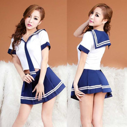 Wholesale Korea Skirt Nylon - Free shipping Japan and South beauty Korea female students loaded three-point sexy sailor suit uniform temptation sexy lingerie women skirt