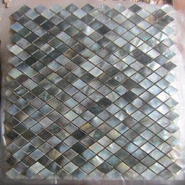 Malla de azulejos de mosaico online-Rhombus Black lip Shell Tile Mosaic Tile on Mesh with Ceramic Tile Base, protector contra salpicaduras, baño, TV backgroud wall