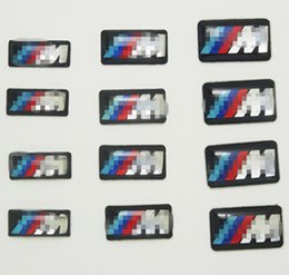 Wholesale M3 Emblems - 100pcs Tec Sport vehicle wheel Badge 3D Emblem Sticker Decals Logo For bmw M Series M1 M3 M5 M6 X1 X3 X5 X6 E34 E36 E6 car styling stickers
