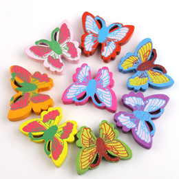Wholesale Wooden Buttons For Scrapbooking - Wholesale 70pcs DIY Mixed Butterfly Wooden Buttons Fit Sewing and Scrapbooking for DIY Home Decoration 110631-70