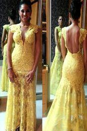 Argentina Vestido de fiesta de encaje amarillo Sirena Vestidos largos pagent Vestidos de moda Vestidos de fiesta Manga corta Vestidos de noche formales increíbles Suministro