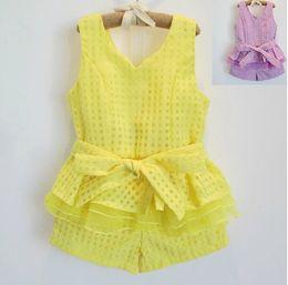 Wholesale Kids Lace Tank Tops - Girl Clothes Children Set Kids Suit Outfits Child Clothing Lace Tank Tops Summer Shorts Child Suit Kids Sets Girl Suit Outfits Dress Suits