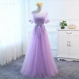 Wholesale Vintage Fiber Art - Short Sheer Sleeves Vintage Bride Evening Dresses Lace Appliqued Plus Size Satin Bridal Purple Guest Dress Cheap Long Golden Evening Gown