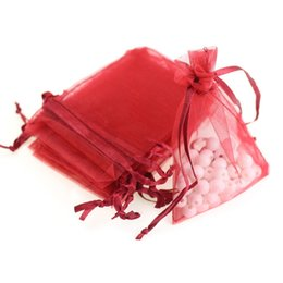 Argentina 7x9cm Deep Red Organza Jewelry Popular Gift Bag Bolsas baratas Packag Coffee Beans Bag Customed Logo Impreso 100pcs / lot Wholesale Suministro