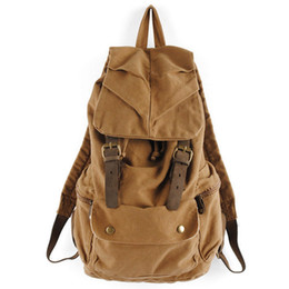 Wholesale Leather Backpack Vintage Genuine - S5Q Men's Vintage Canvas Leather Hiking Travel Military Backpack Messenger Tote Bag AAACVC