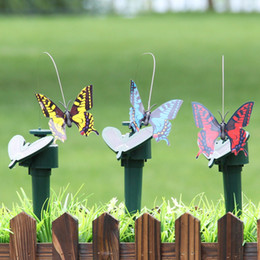 Wholesale Dancing Butterfly - Solar Hummingbird Simulation Power Dancing Flying Fluttering Butterfly Multi Color For Garden Flowerpot Lawn Decoration 7 8ll C R