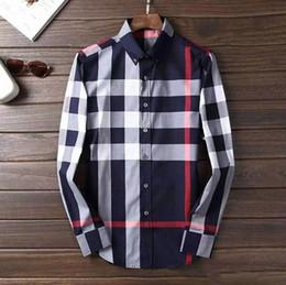 Wholesale Mens Long Sleeve Casual Shirts - 2017 Brand Men's Business Casual shirt mens long sleeve striped slim fit camisa masculina social male T-shirts new fashion man checked shirt